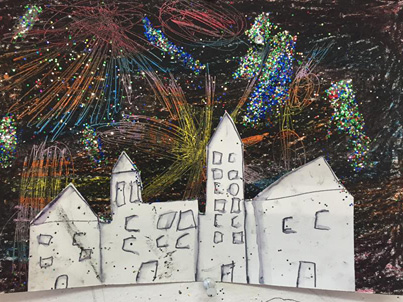Firework picture at Saturday Art Club